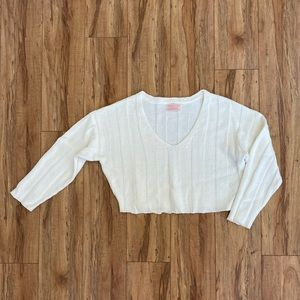 Urban Outfitters Cropped White Slouchy Sweater